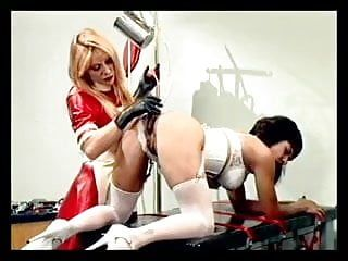 Nurse sticking tubes up cuties arse