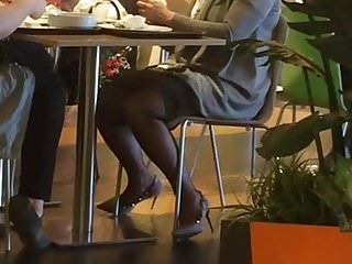 Wonderful milf in hose in mall
