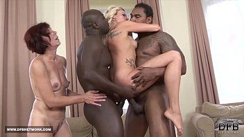 Ebon studs fuck white hotties deepthroat gulp cum hardcore interracial gangbang