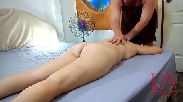 Exposed massage and fucking. part 1. massage of neck, back and shoulders