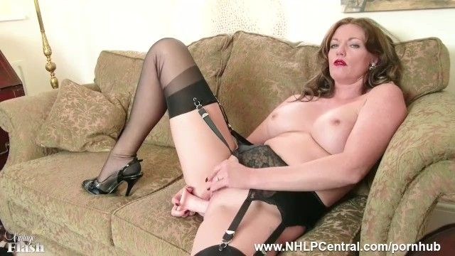 Redhead milf masturbates in vintage underware stockings in kinky marital-device session