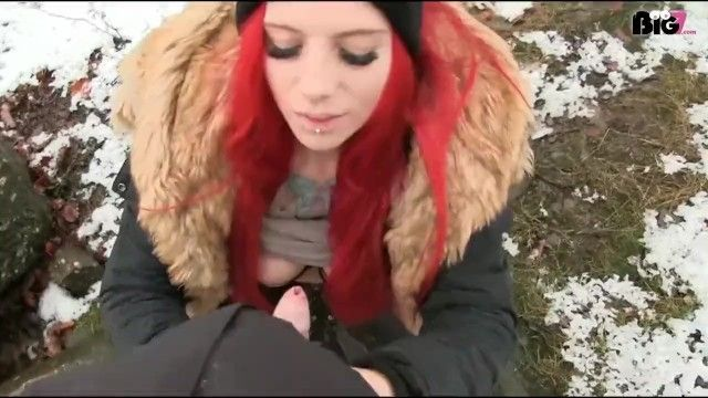 Red hair german in down furry jacket sex outdoor