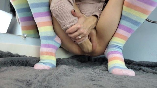 Petite angel self fisting and stretching her gaping cookie open in rainbow knee high socks