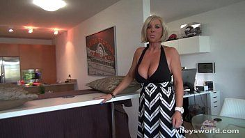 Breasty blond milf sucks and swallows cum